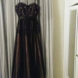 Blace lace evening gown